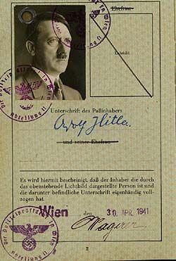 Adolph Hitler's passport - a document forged by British intelligence for propaganda purposes. Courtesy Public Record Office, Kew
