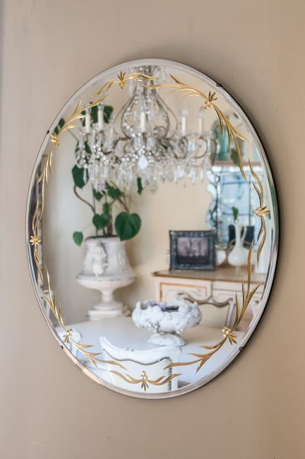 Large round etched 24k gold mirror antiques pinterest for Large round gold mirror