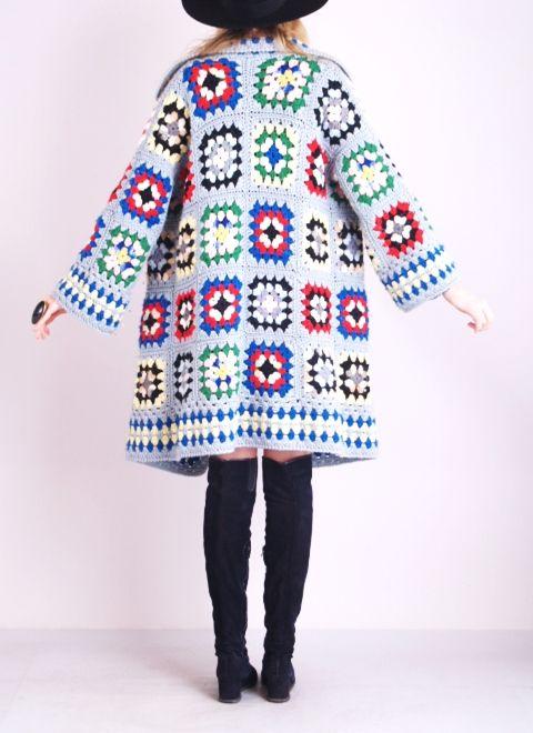 Vtg Granny Square Crochet Knit Cardigan Jumper Dress Jacket Hippie Sweater Coat | eBay