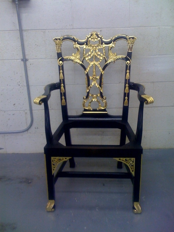 The Emma Arm Chair in Black Lacquer paint with hand ...
