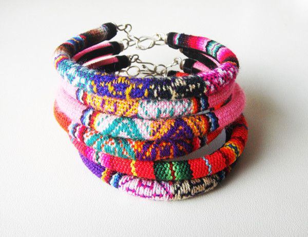 Woven Bracelets in bright and beautiful color patterns.  Come see more unique gifts at Souvenir. shop-souvenir.com