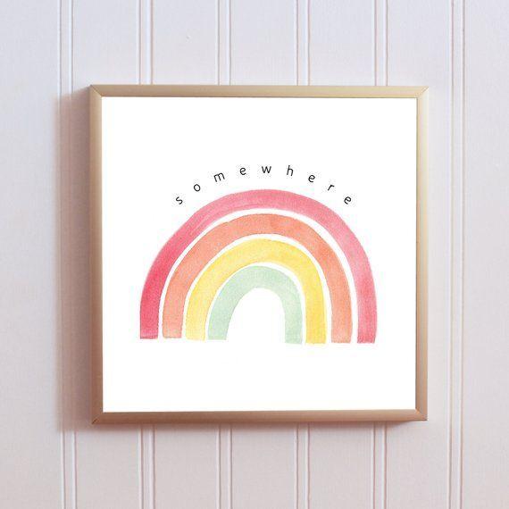 Rainbow baby shower Playroom print Kid bedroom art Rainbow Nursery print Nursery wall art Set of 3 prints Somewhere over the rainbow