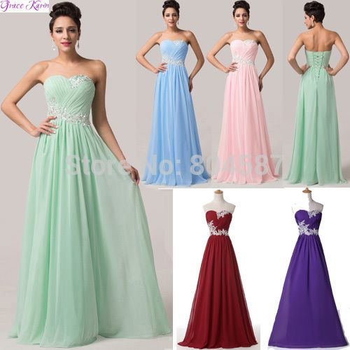 Cheap bridesmaid dresses black and pink, Buy Quality bridesmaid dresses for pregnant women directly from China bridesmaid dresses gold color Suppliers: Colorful Grace Karin A-line Chiffon Long Vestido Festa Longo Madrinha Noite Wedding Party Prom Special Occasion Bridesma