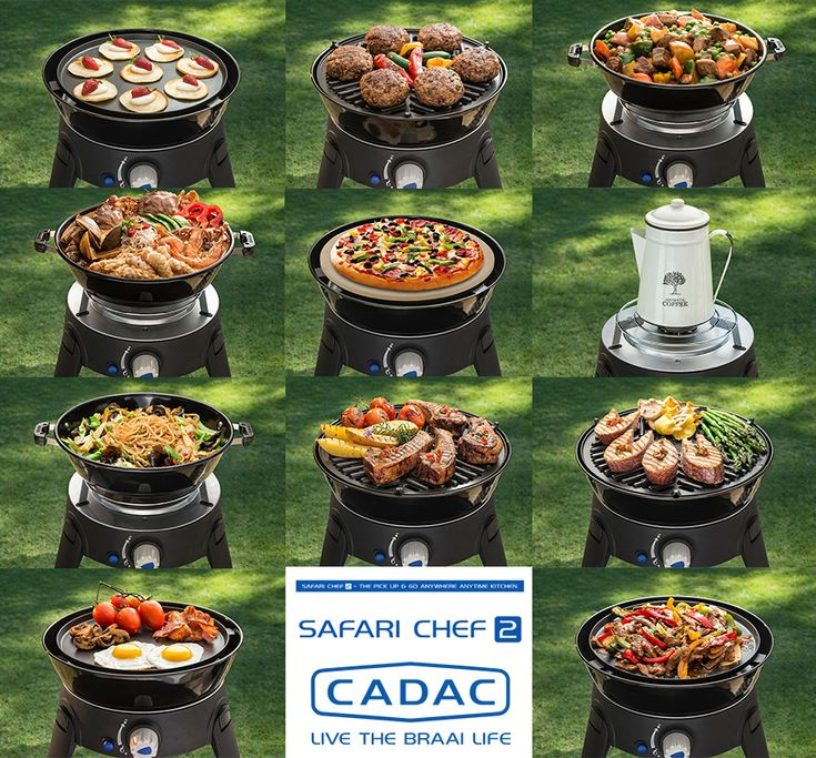 The Cadac Safari Chef 2 is a portable and versatile gas BBQ, weighing less than 4kg.  It includes four interchangeable cooking surfaces. These are: - the pot stand - #BBQ top (cooking area 28cm) - the non-stick flat griddle (cooking area 26cm) - the pot ( http://grillsidea.com/how-to-use-a-gas-grill-for-the-first-time/