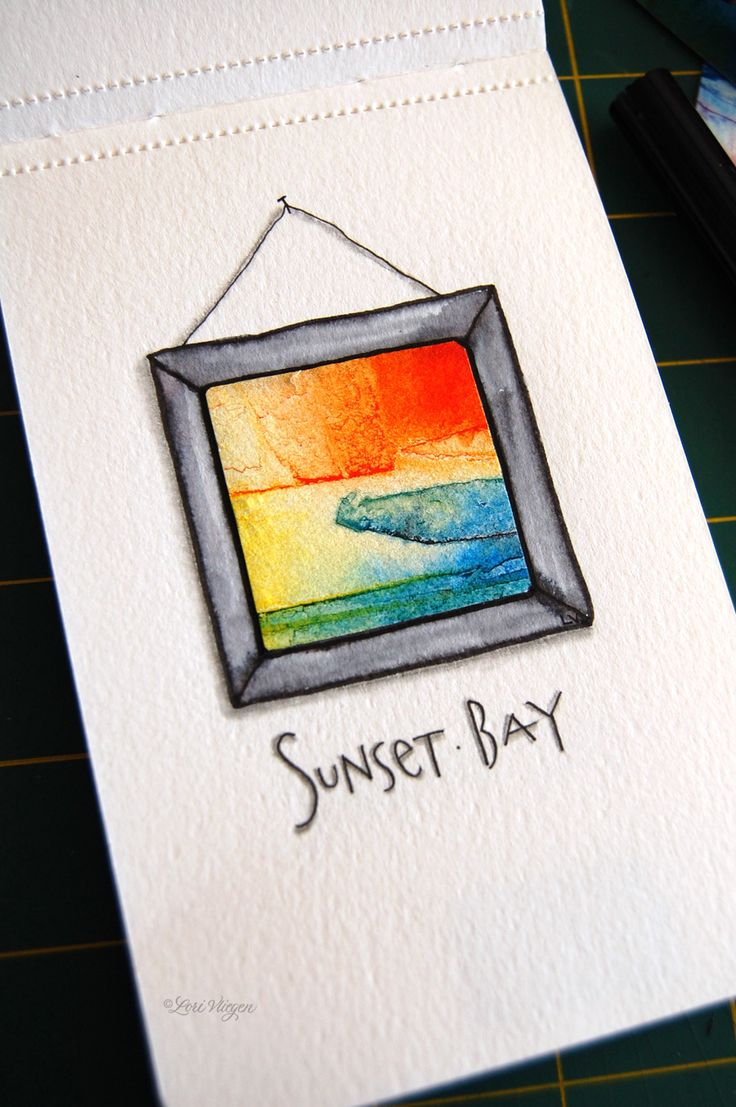 """{elvie studio: inspiration monday} Take a piece of watercolor paper that's not so wonderful, cut out little squares and """"frame"""" them with another piece of paper painted into a frame. Awesome mini-art."""