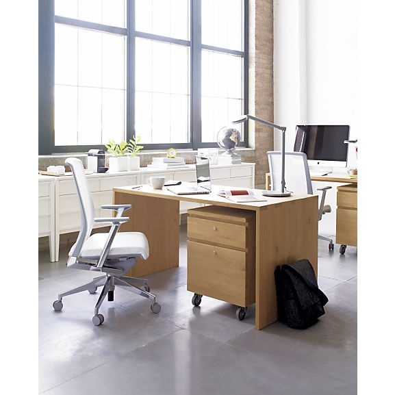Sentry Oak Filing Cabinet, Haworth Very Task Chair, Steelcase Dash Task Lamp, Spotlight Credenza I Crate and Barrel