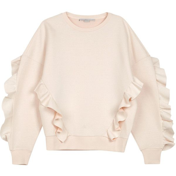 Stella McCartney Blush ruffle-trimmed neoprene sweatshirt (£365) ❤ liked on Polyvore featuring tops, hoodies, sweatshirts, sweaters, shirts, pink sweatshirts, frilled shirt, flounce tops, shirt top and neoprene sweatshirt