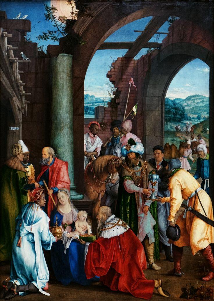 Adoration of the Magi by Hans Süß von Kulmbach in Kraków, 1511 (PD-art/old), Gemäldegalerie der Staatlichen Museen zu Berlin, central panel of a triptych founded by Stanisław Jarocki, castellan of Zawichost (d. 1515) for Skałka Monastery in Kraków