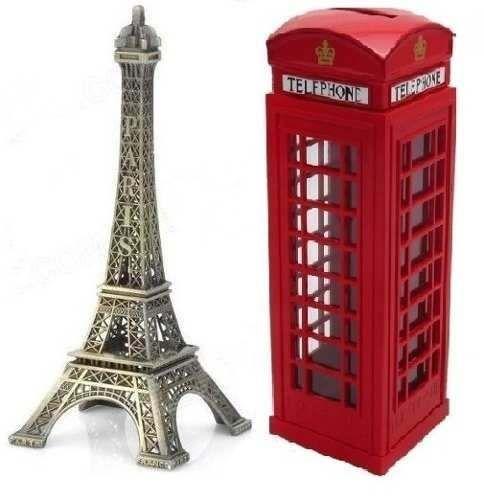 torre eiffel em miniatura + cabine telefônica londres