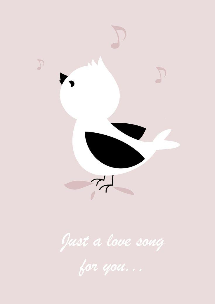 A song for you / Affiche déco pour chambre d'enfant / Oiseau / Bird / Pink / Kids / Vintage / Scandinave / Children's room. / Illustration