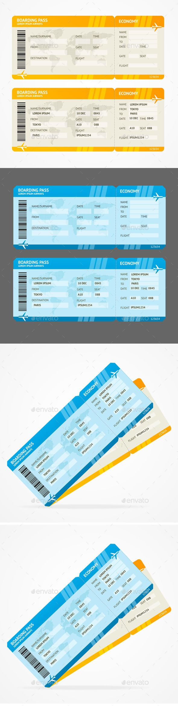 Vector Modern Airline Boarding Pass Tickets — Vector EPS #gate #flight • Available here → https://graphicriver.net/item/vector-modern-airline-boarding-pass-tickets/11428004?ref=pxcr