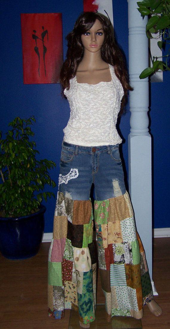 Hippie flair bloomer patchwork clothes pants by HippieTrunkShow, $84.00