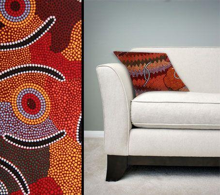 Design:  Man's Ceremony Size: 50cm square - 100% cotton - zip Australia Made Code: CUSH-BUL03 Price: $30.00