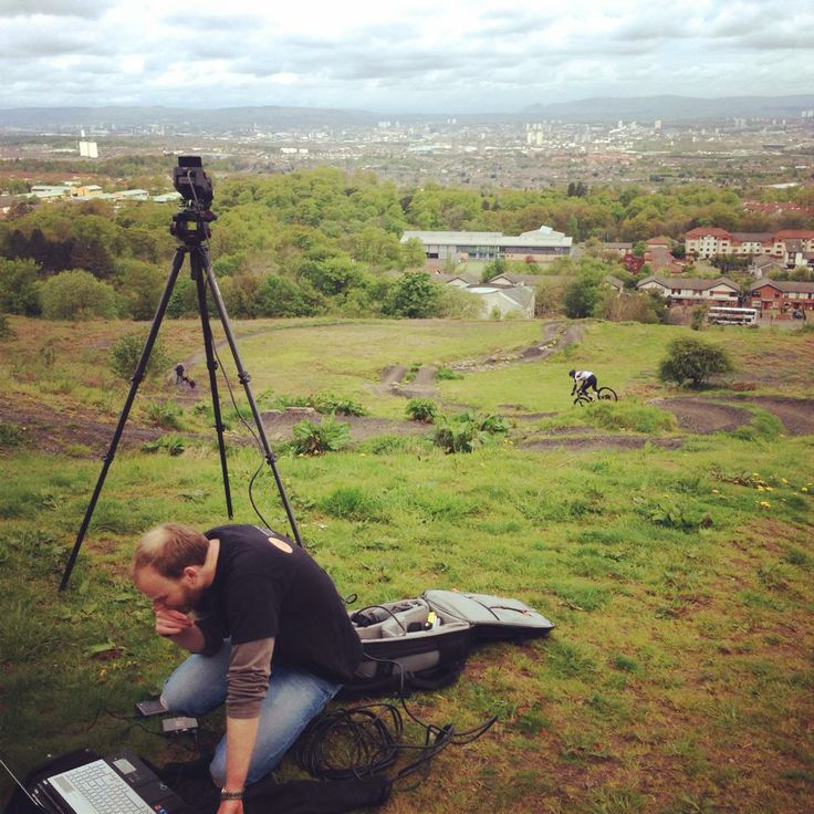 Doing sports video analysis on the Commonwealth Games course at Cathkin Braes in Glasgow with Gareth Montgomerie.