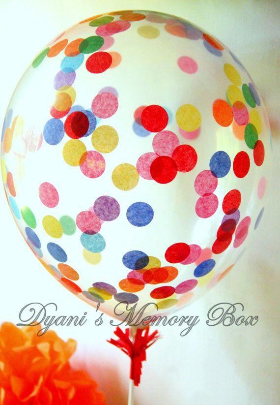 Clear Rainbow Confetti-Filled Balloon / Biodegradable Latex Balloon / Confetti Balloons / Rainbow Party Decor / Sprinkle Balloon