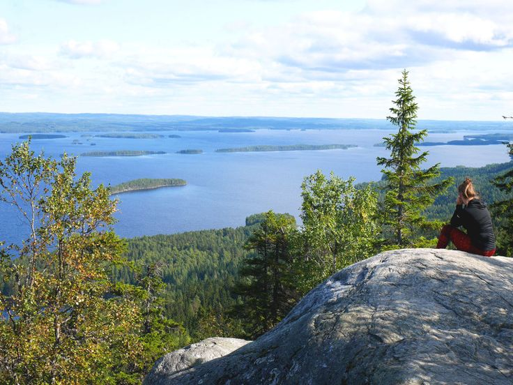The national view of Finland, Koli with Finnish nature and lake view.