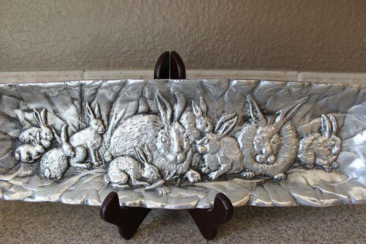 Aluminum Bunny Tray, Arthur Court Rabbit Platter, Spring Easter Tableware by objectsofvirtu on Etsy