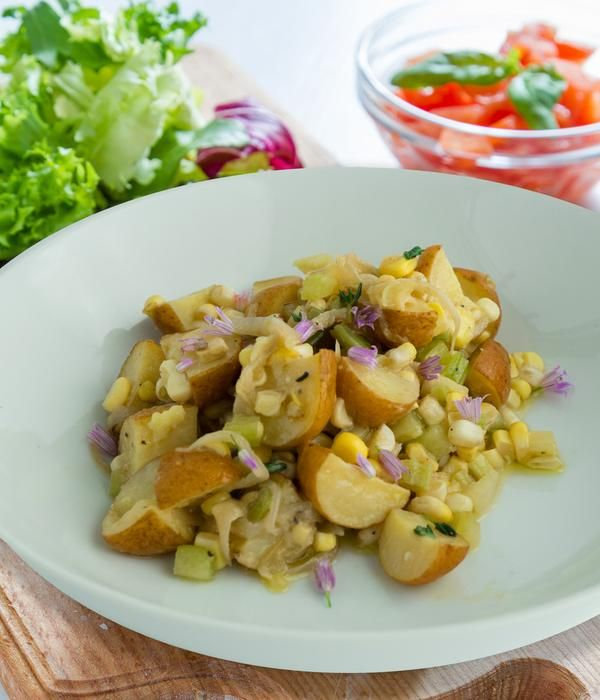 This salad recipe of potato and corn is  super healthy and super filling too!