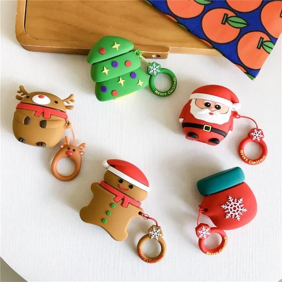 Cute Christmas Airpods Case Keychain Christmas Airpod Holder Silicone Airpod Keychain Airpods Cover Fashion Airpods Holder Airpod Case Earphone Case Case