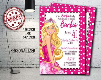 barbie invitation barbie birthday barbie party barbie crad