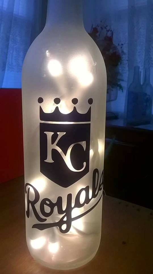 MLB Kansas City Royals Lighted Wine Bottle! Handmade! Can be Customized! Have a few designs
