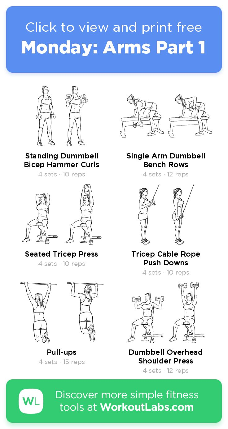 Monday: Arms Part 1 – click to view and print this illustrated exercise plan c… – Workouts