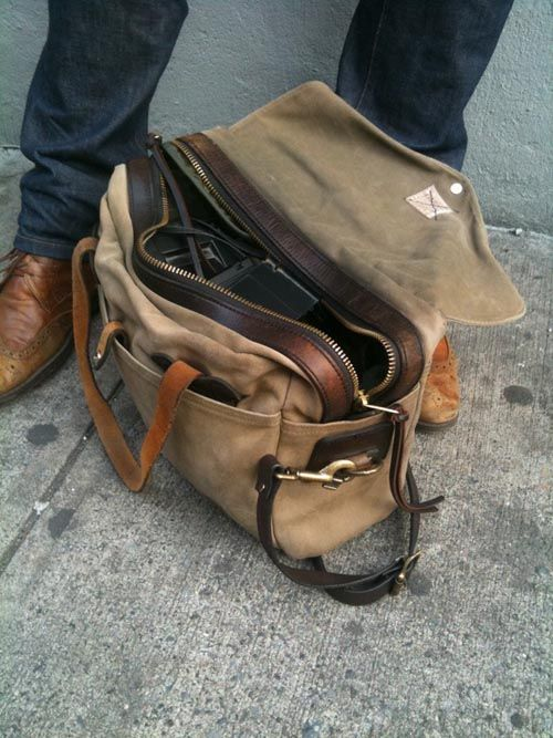 men's bag// Why can't I find a nice sturdy bag like this?? Canvas + Leather= Favorite.