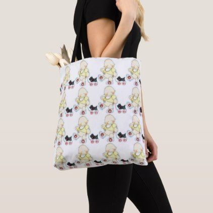 """TOTE WITH BABY PULLING WAGON"""" & YELLOW BACK - baby shower ideas party babies newborn gifts"""