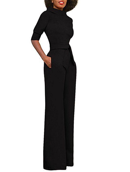 fff6866c02a0 Amazon.com  GUOLEZEEV Women Sexy Half Sleeve High Waist Wide Leg Long  Jumpsuits Rompers Pants Black M  Clothing
