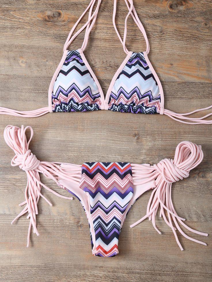 Halter Zig Zag Stringy Bikini Set COLORMIX: Bikinis | ZAFUL