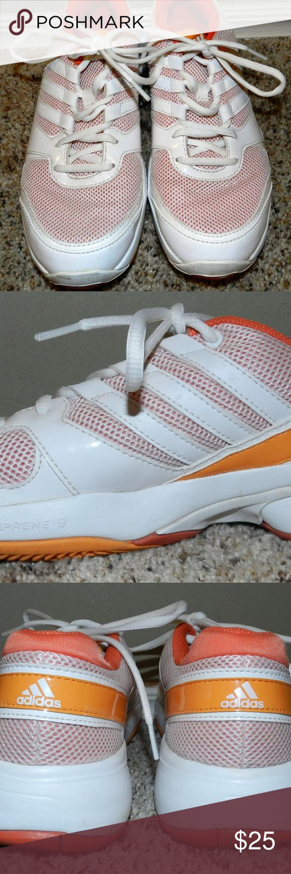 Adidas Tennis Shoes Like New!  White and Orange Adidas Tennis Shoes.  Worn twice!  No stains or flaws. adidas Shoes Athletic Shoes