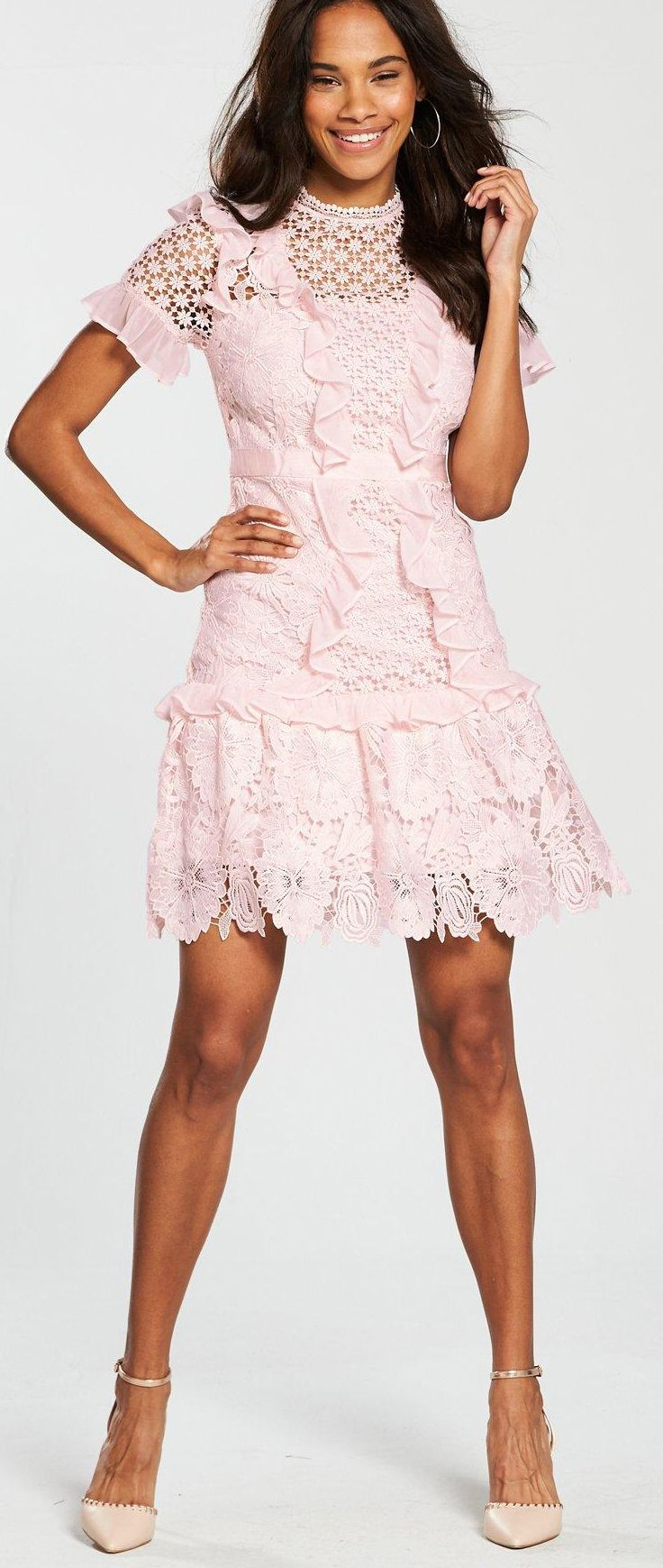 423b5980c6c7 Blush Baby Pink Lace Tiered Dress. Always on trend flirty Baby Pink.  Flirty