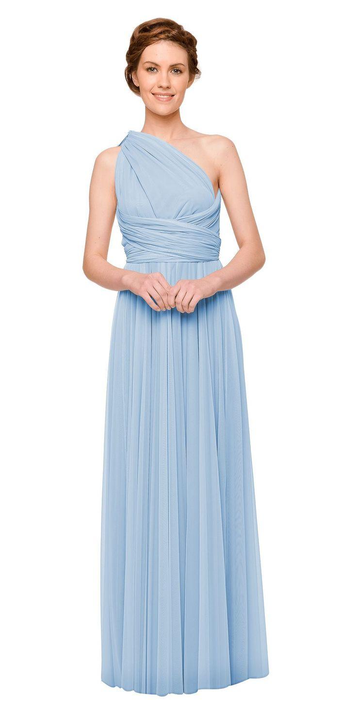 Gorgeous powder blue, one shoulder bridesmaid dress   A twobirds bridesmaid multiway, convertible, twist wrap dress