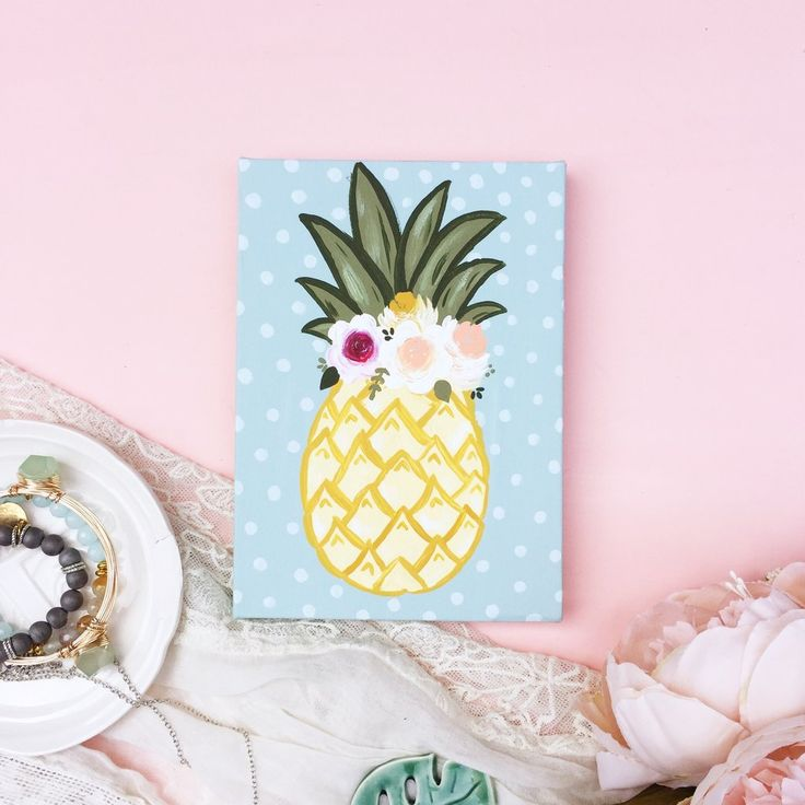 Floral Pineapple Canvas