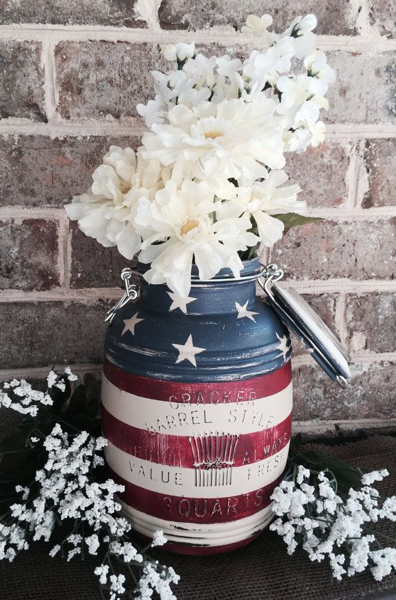American Flag painted chalk paint mason jar vase canister cookie jar 3 quart 4th of July