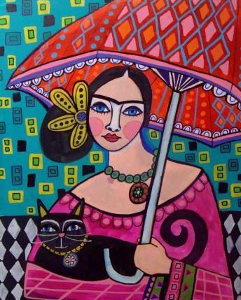 Mexican Folk Art - Girl with Umbrella Art Frida Kahlo Print Poster - Wedding Gifts