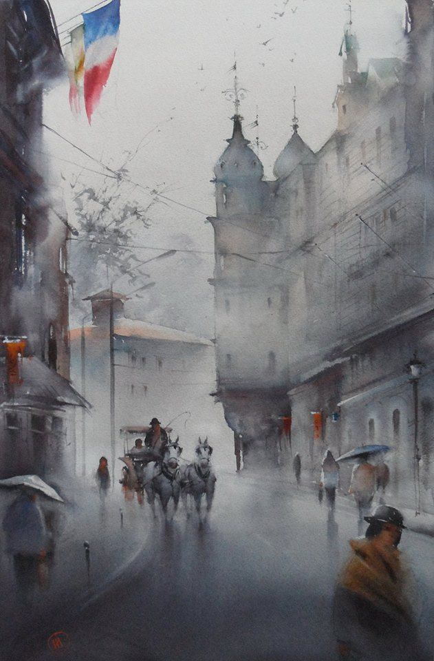 Ilya Ibryaev - AFTER THE RAIN - (Karlovy Vary, Czech Republic) - watercolor (53х37) cm