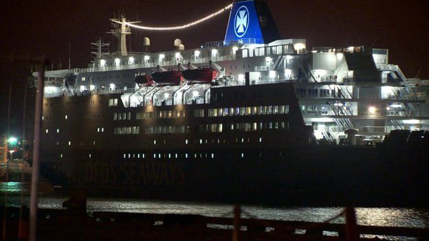Ferry returns to North Shields.  North Sea ferry fire on MS King Seaways prompts probe.  RAF helicopters winched two passengers and four crew off the MS King Seaways, which was sailing to Amsterdam, when it was 30 miles off Flamborough Head.  Those injured were taken to Scarborough Hospital