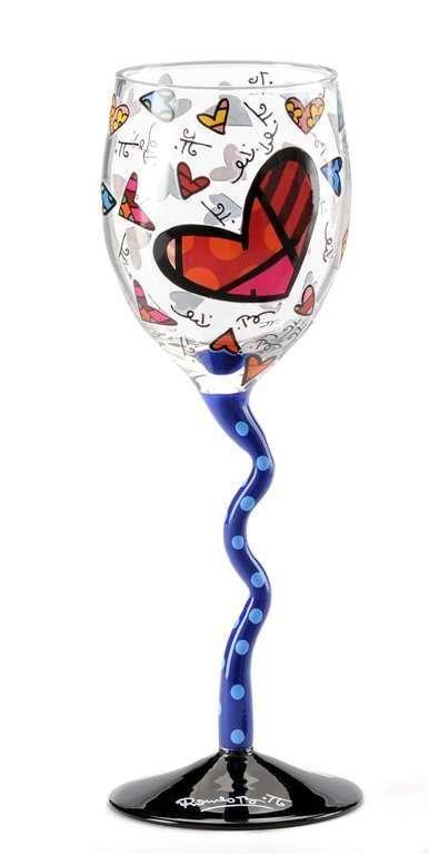 Romero Britto wine glass