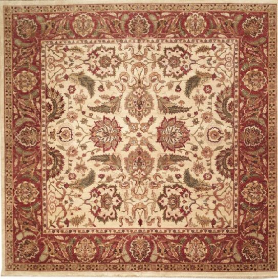 NEW CONTEMPORARY PERSIAN SULTANABAD AREA RUG 44950   AREA RUG This  Beautiful Handmade Knotted Square Rug