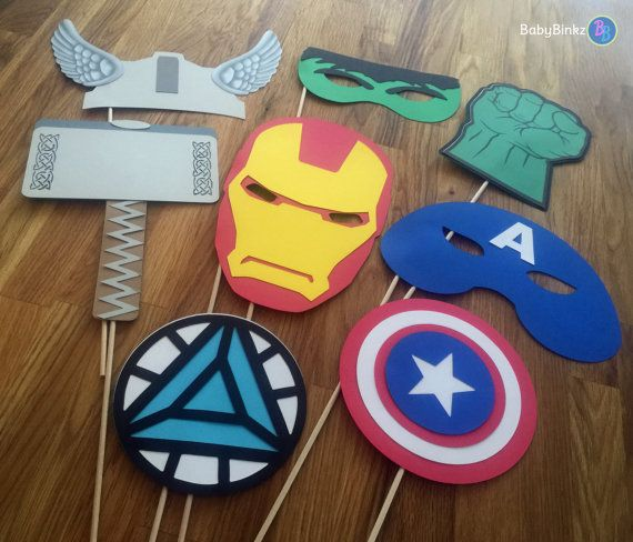 Photo Props: The Marvel Avengers Super Hero Set (8 Pieces) - party wedding birthday mask pow thor hulk america ironman avengers centerpiece