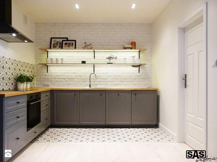 Projekt mieszkania na wynajem w Zielonej Górze - Średnia zamknięta kuchnia w kształcie litery l, styl skandynawski - zdjęcie od SAS Wnętrza i Kuchnie