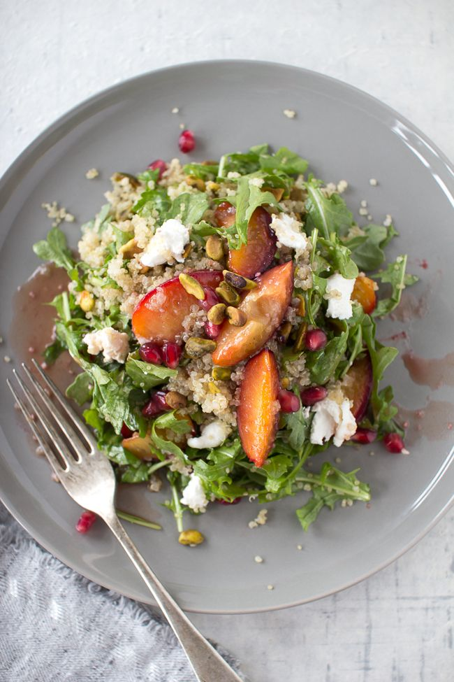 Caramelized Plum and Quinoa Salad with Pomegranate Dressing | The Flourishing Foodie