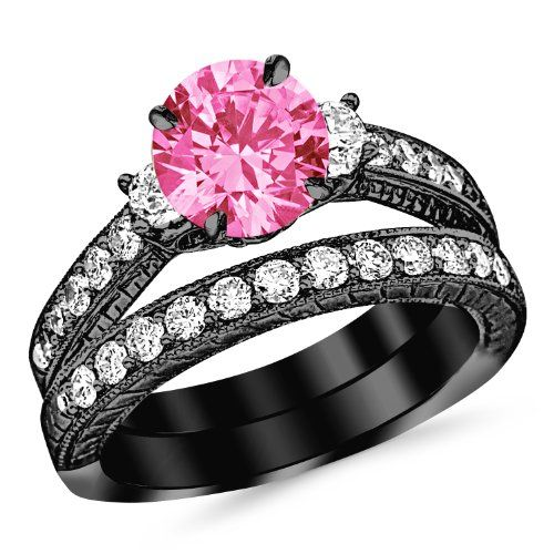 2.53 Carat 14K Black Gold Three Stone Vintage With Milgrain & Filigree Bridal Set with Wedding Band & Diamond Engagement Ring with a 1.5 Carat Natural Pink Sapphire Center