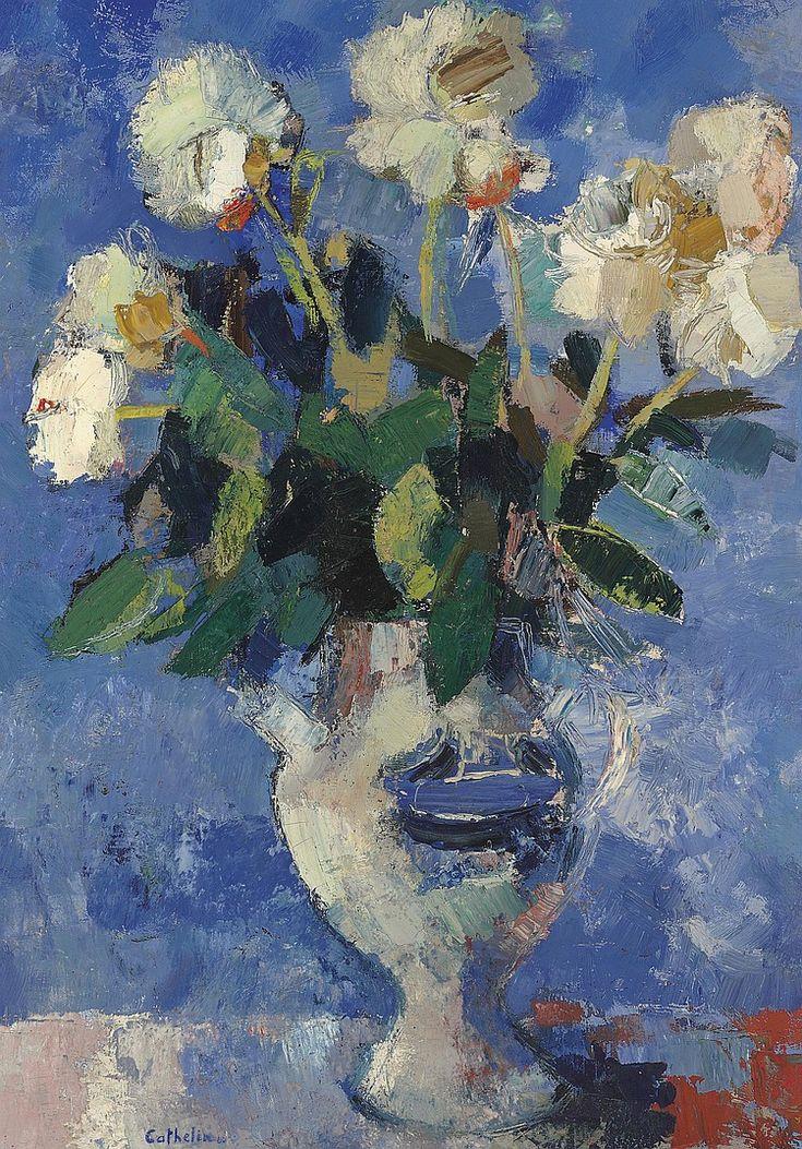 "Bernard Cathelin (1919-2004) ""Pivoines au fond bleu"" Juin 1960' oil on canvas 36 1/8 x 25½ in. (91.8 x 64.9 cm.)"