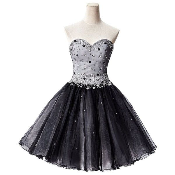 Black Short Tulle Homecoming Dress Showcasing Sweetheart Beaded Embellished Bodice