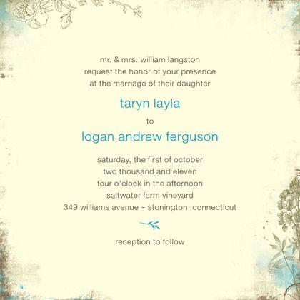 Rustic Garden - Signature Ecru Wedding Invitations - Lady Jae - Aqua - Blue : Front