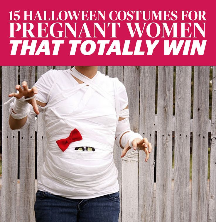 15 Halloween Costumes For Pregnant Women That Totally Win- Because what better accessory is there than your bump? Get creative DIY costume ideas for pregnant moms at redbookmag.com.