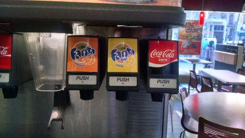 Partial selection of drinks at a Burger King in Barcelona