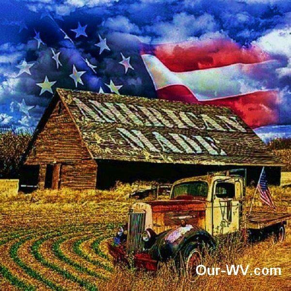 American Made - a barn and old truck with the flag flying ...